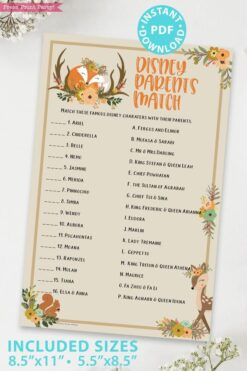 disney parent match - Woodland baby shower games and signs w woodland creatures and forest animals like a cute fox, deer, and squirrel. Press Print Party Instant Download
