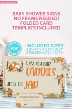 How many candies in the jar sign with editable text in 4 sizes 8x10, 5x7, letter, half sheet - Woodland baby shower games and signs w woodland creatures and forest animals like a cute fox, deer, and squirrel. Press Print Party Instant Download