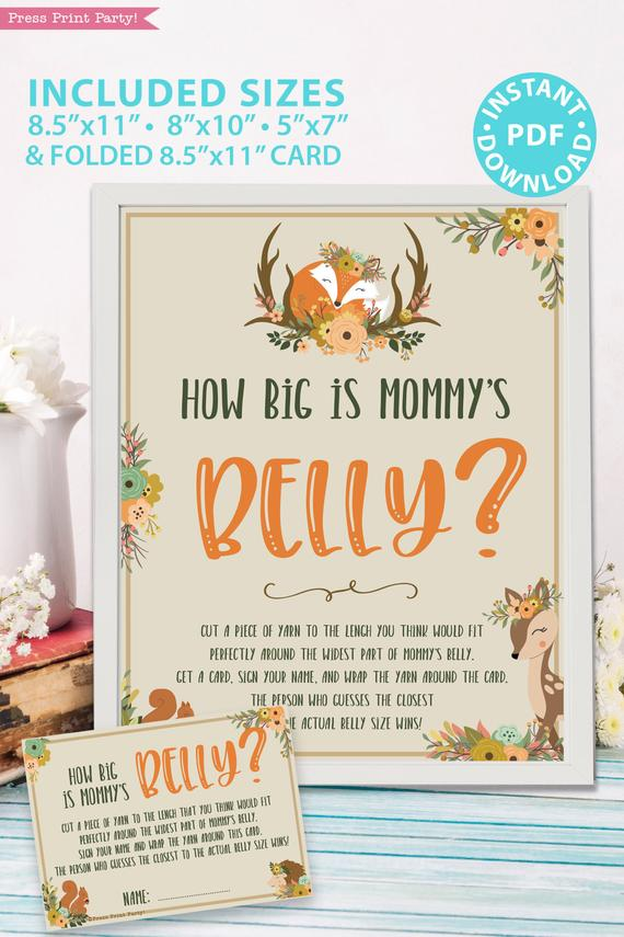How big is mommy's belly - - with card - Woodland baby shower games and signs w woodland creatures and forest animals like a cute fox, deer, and squirrel. Press Print Party Instant Download