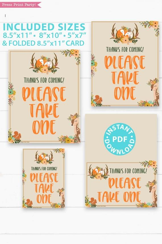 Please take one baby shower sign - Woodland baby shower games and signs w woodland creatures and forest animals like a cute fox, deer, and squirrel. Press Print Party Instant Download