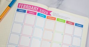 Free 2020 Calendar printable for bullet journal or household binders. With bible verses for each month. Monthly calendars to print. Glued in a notebook leuchtturm1917 February pictured. Also available January, March, April, May , June, july, august, september, october, november, december 2020