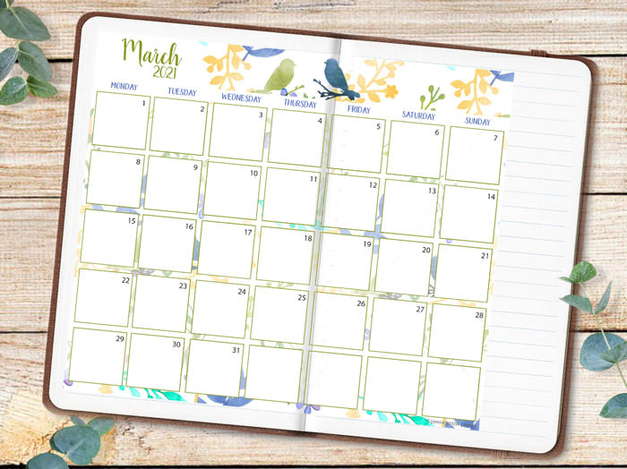 watercolor calendar printable pasted on green bullet journal - Press Print Party!