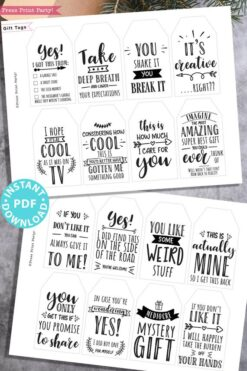 40 funny christmas gift tags printable. Hilarious original sayings. Sweet and honest gift tags. white elephant gift tag. rustic style. Press Print Party!