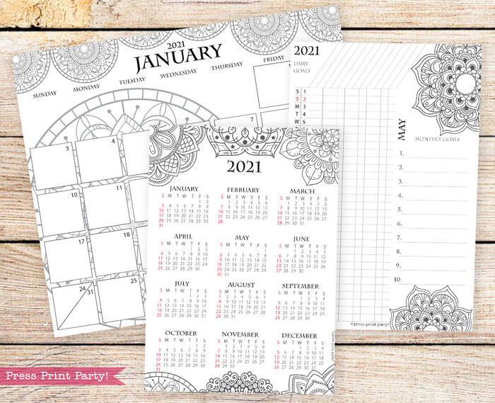 Calendar set for 2021 with monthly calendar, yearly calendar and routine tracker in mandala design.Press Print Party