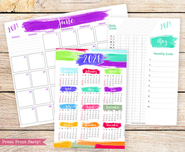 Calendar set for 2021 with monthly calendar, yearly calendar and routine tracker in brushes watercolor designs.Press Print Party