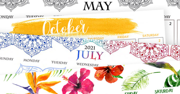 4 exclusive calendar designs for 2021 mandala, watercolor, brushes by Press Print Party