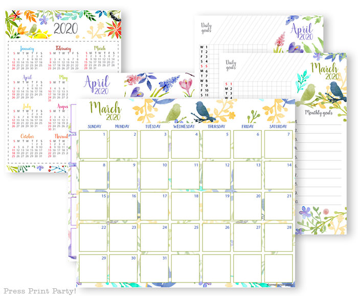 2020 printable calendar for march template, 2020 monthly calendar printable, one page calendar printable, print a calendar by month, 2020 year planner printable, sunday or monday start, for bullet journal calendar or for household binders, A5 planner, pdf, instant download, Daily trackers, daily routine, habit tracker, Bullet Journal Printable, Monthly Planner supply, bullet journal ideas, bujo ideas, bullet journal monthly layout for beginners, bujo supplies, monthly spread, Press Print Party! beautiful, watercolor design