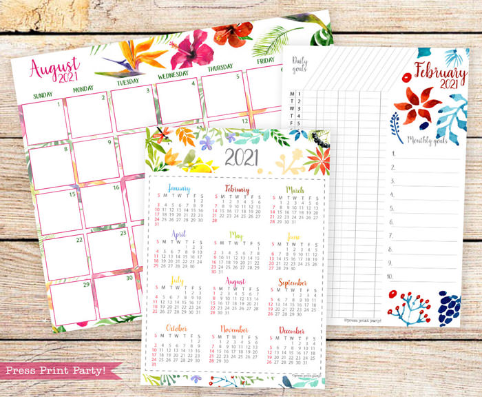 Calendar set for 2021 with monthly calendar, yearly calendar and routine tracker in watercolor designs.Press Print Party