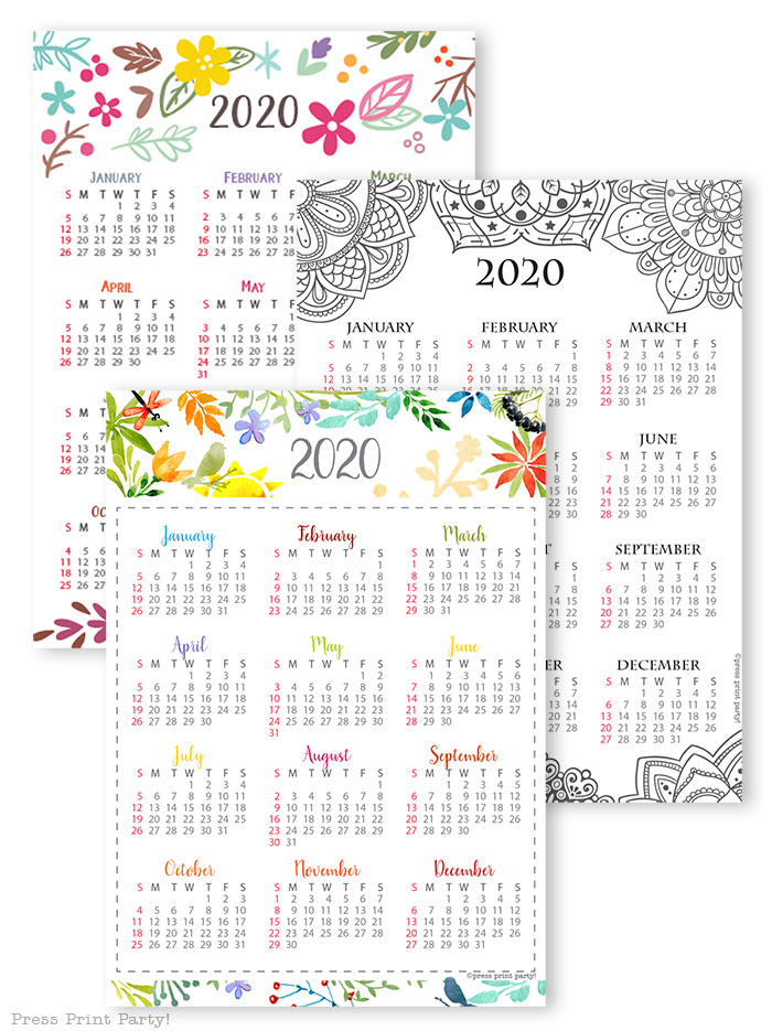 2020 printable calendar template, 2020 monthly calendar printable, one page calendar printable, print a calendar by month, 2020 year planner printable, sunday or monday start, for bullet journal calendars or for household binders, A5 planner, pdf, instant download, Daily trackers, daily routine, habit tracker, Bullet Journal Printable, Monthly Planner supply, bullet journal ideas, bujo ideas, bullet journal monthly layout for beginners, bujo supplies, monthly spread, Press Print Party! cute, whimsical colorful design, mandala and watercolors