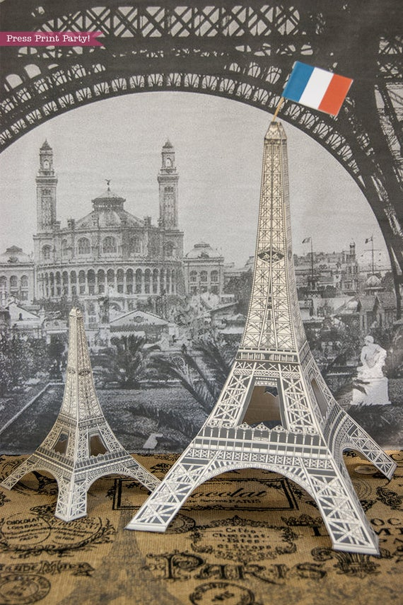 Paris party printables Eiffel tower centerpiece Press Print Party!