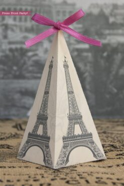 Paris party printables. Eiffel tower favor box pyramid. Press Print Party!