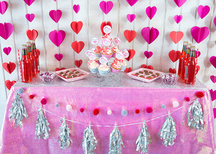 Dessert table with chocolate truffles and cupcakes - Galentine's Day Party Ideas for Teens - Press Print Party!