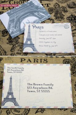 Paris party invitation fully editable. Eiffel tower postcard invitation for a vintage French party. Press Print Party!