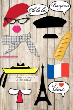 Paris French photo booth props. Berets, lips, mustaches, bread, scarf, little school girl hat, french flag, bubbles, Eiffel tower. Printables by Press Print Party.