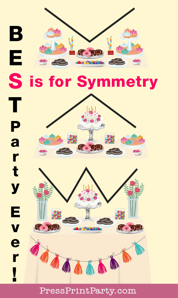 Dessert Table ideas and basic set-up with free printable cheat sheet party planning decorations. Press Print Party! S is for symmetry 3 pictures of dessert tables with different shapes.