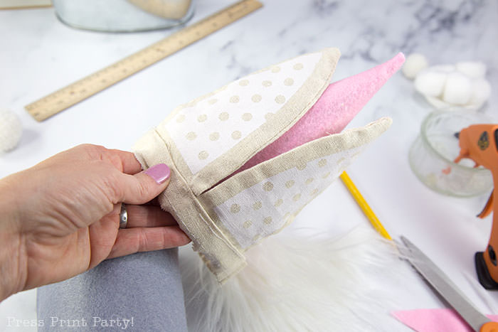 Diy gnome craft for spring no-sew craft ideas with felt flowers and, fur, cardboard cone body with hot glue gun. Bunny gnome for easter Press Print Party!