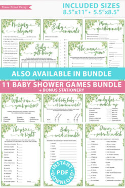 eucalyptus11 baby shower games bundle oh baby baby shower games bundle - what is purse, nursery rhymes, mom questionnaire, disney parent match, celebrity baby, candy bar match up, baby word scramble, gift bingo, baby animals, abc name game.Press Print Party!