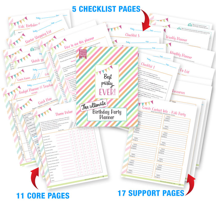 all the pages from the ultimate birthday party planner checklist by Press Print Party