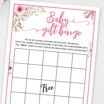 baby gift bingo baby shower games ideas and activities w printable template instant download by Press Print Party!