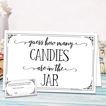 guess how many candies are in the jar. baby shower games ideas and activities w printable template instant download by Press Print Party!