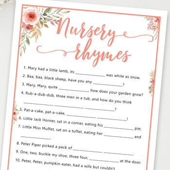 nursery rhymes baby shower games ideas and activities w printable template instant download by Press Print Party!