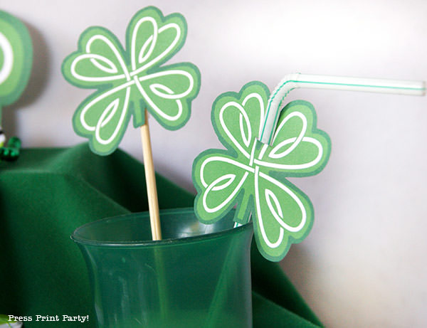 shamrock printables for straw Press Print Party!