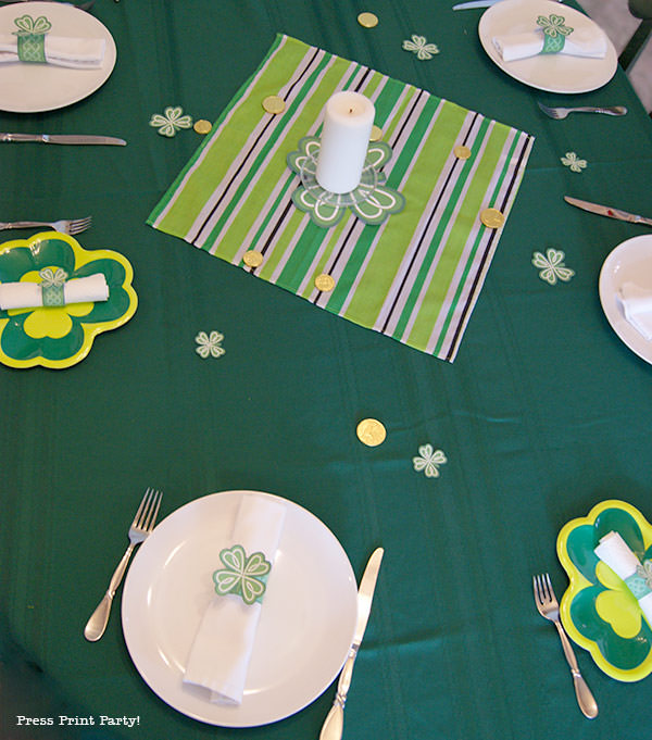 Free St Patrick's Day Shamrock Printables by Press Print Party! green table cloth