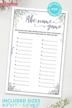 ABC Name Game - Baby shower game printable template pdf, baby shower party ideas, instant download Press Print Party! Greenery and purple design