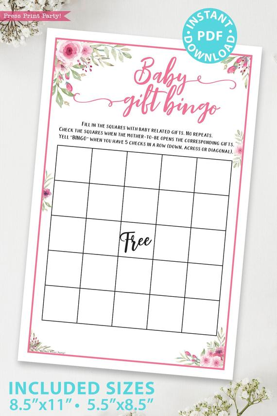baby gift bingo game printable baby shower game pink flowers Press Print Party!