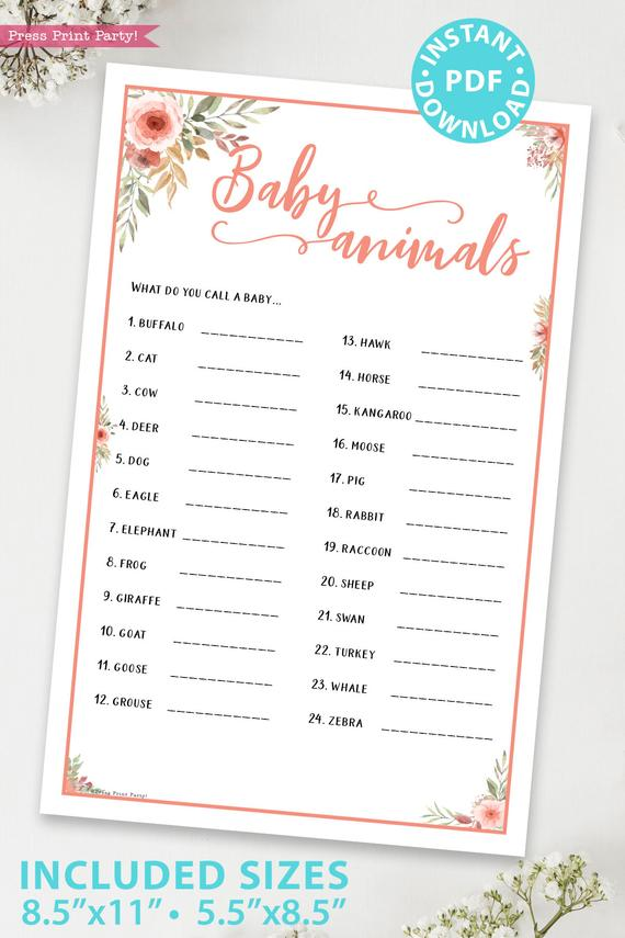 Baby animals Printable baby shower game Peach flowers, instant download pdf Press Print Party!