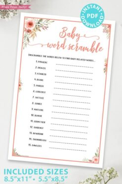 Baby word scramble Printable baby shower game Peach flowers, instant download pdf Press Print Party!
