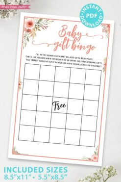 baby gift bingo Printable baby shower game Peach flowers, instant download pdf Press Print Party!