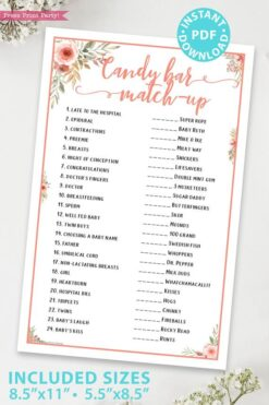 Candy bar match up Printable baby shower game Peach flowers, instant download pdf Press Print Party!