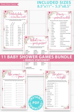 11 baby shower games bundle - baby shower games set - Press Print Party!