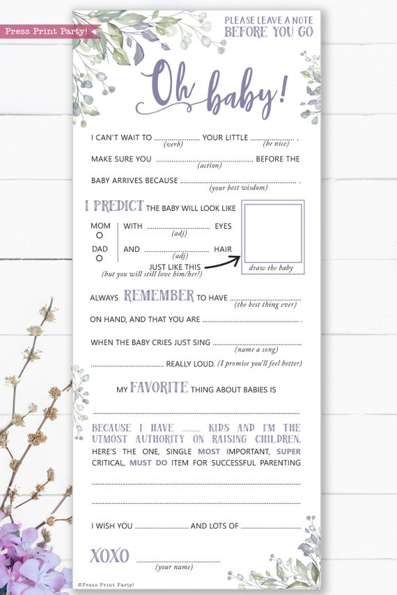 Greenery and purple baby shower mad libs printable. Baby shower games advice card better than a guest book great activity Oh baby Instant Download Press Print Party!