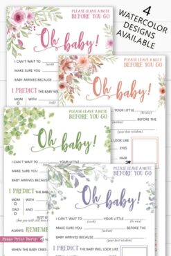 baby shower mad libs advice cards in 4 different designs pink flower, greenery, peach flowers, and eucalyptus Press Print Party!