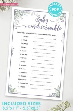 Baby Word Scramble - Baby shower game printable template pdf, baby shower party ideas, instant download Press Print Party! Greenery and purple design