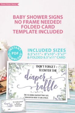 Diaper Raffle sign - Baby shower sign printable template pdf, baby shower party ideas, instant download Press Print Party! Greenery and purple design with tickets