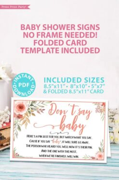 don't say baby game sign Printable baby shower game Peach flowers, instant download pdf Press Print Party!