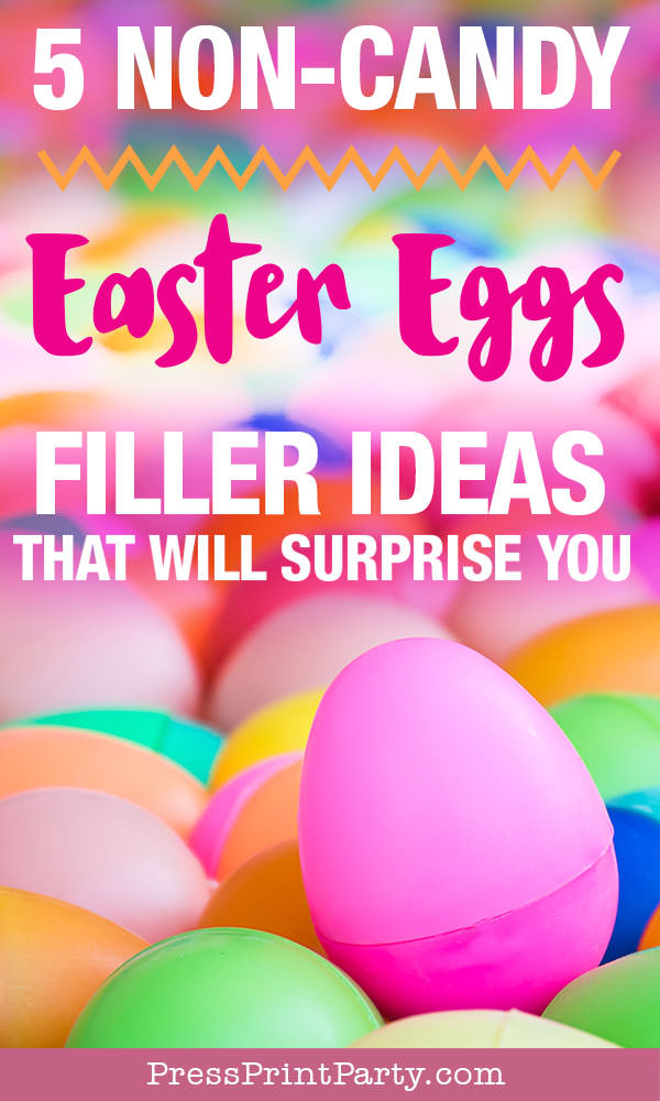 Easter egg hunt ideas and activities - non candy Easter egg filler ideas that's not junk Press Print Party!