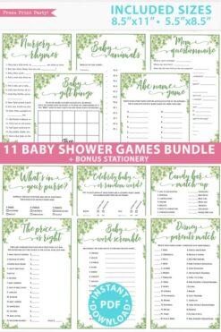 Baby Shower Games Bundle Printable, eucalyptus, Games Pack, Unique Baby Shower Games, Funny Activities, Girl, Bingo, INSTANT DOWNLOAD