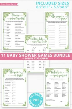 Baby Shower Games Bundle Printable, eucalyptus, Games Pack, Unique Baby Shower Games, Funny Activities, Girl, Bingo, INSTANT DOWNLOAD