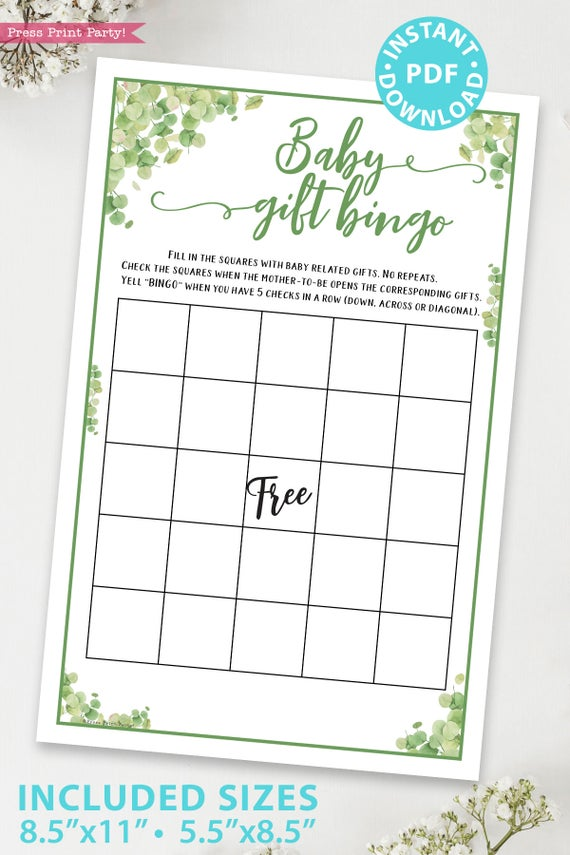 baby gift bingo Baby shower game printable template pdf instant download Press Print Party! Eucalyptus design