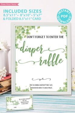 diaper raffle sign and game cards Baby shower game printable template pdf instant download Press Print Party! Eucalyptus design