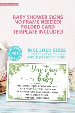 Don't say baby sign Baby shower game printable template pdf instant download Press Print Party! Eucalyptus design