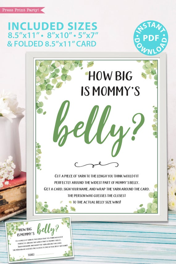 how big is mommy's belly sign Baby shower game printable template pdf instant download Press Print Party! Eucalyptus design