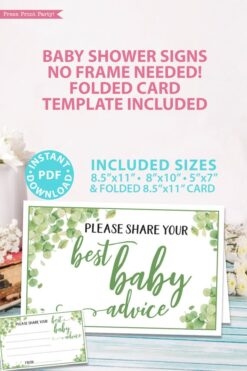 best baby advice sign Baby shower game printable template pdf instant download Press Print Party! Eucalyptus design