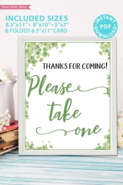 Please take one favor sign Thanks for coming Baby shower game printable template pdf instant download Press Print Party! Eucalyptus design
