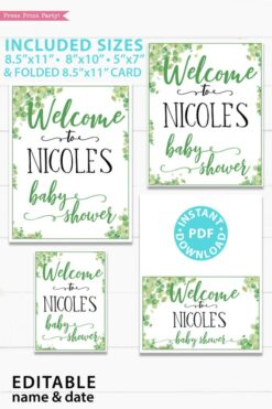 Welcome to the baby shower editable name Baby shower sign printable template pdf instant download Press Print Party! Eucalyptus design