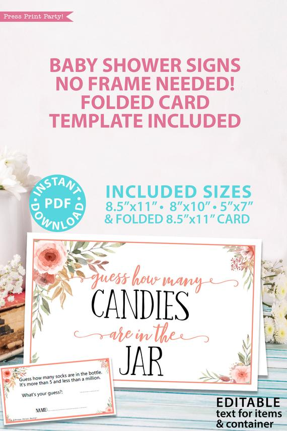 guess how many candies are in the jar game Printable baby shower game Peach flowers, instant download pdf Press Print Party!